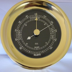 Brass Barometer with black dial