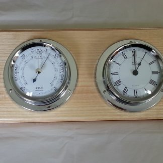 Chrome clock & barometer