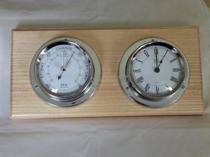 Chrome clock & barometer