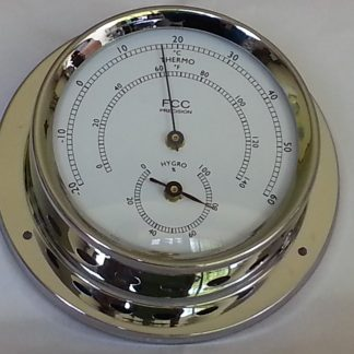 Hygrometer/Thermometer spun chrome