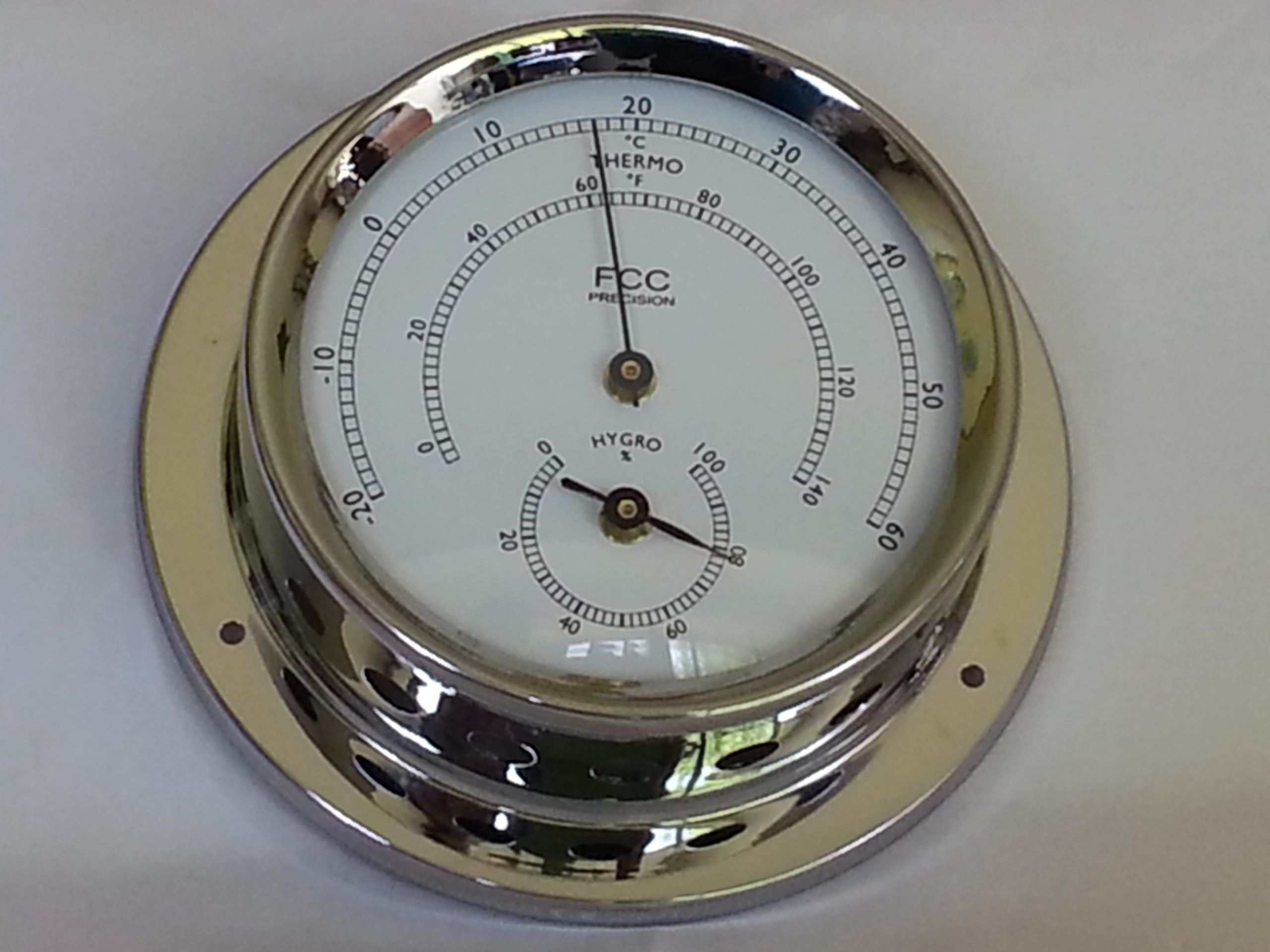 Hygrometer/Thermometer spun chrome