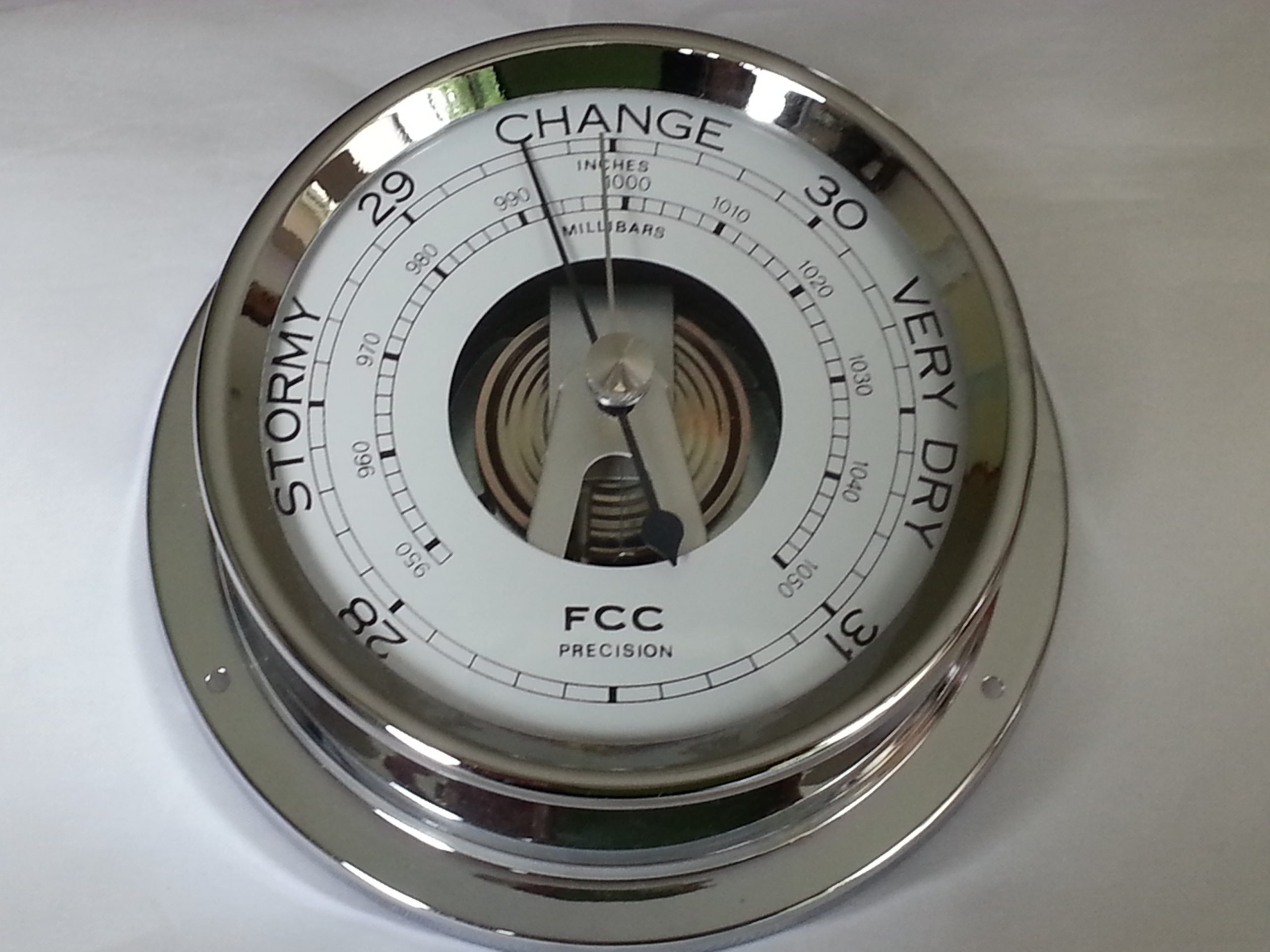 Chrome barometer for home
