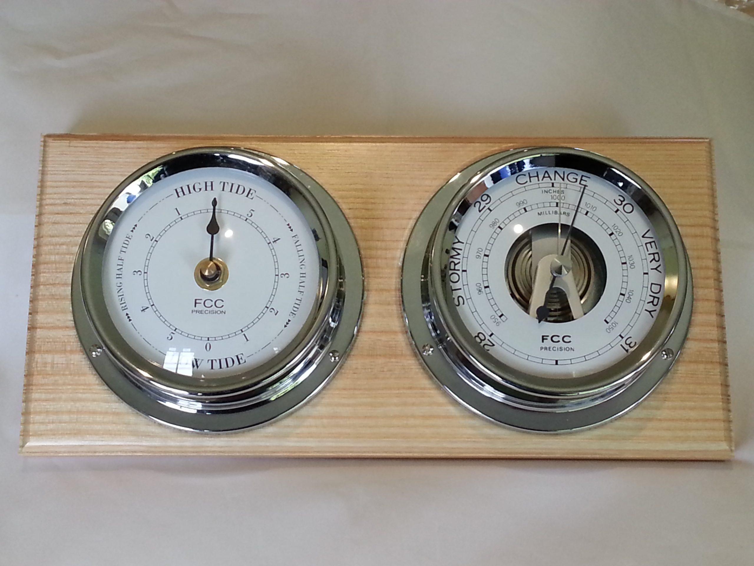 Coastal home set barometer & tide clock