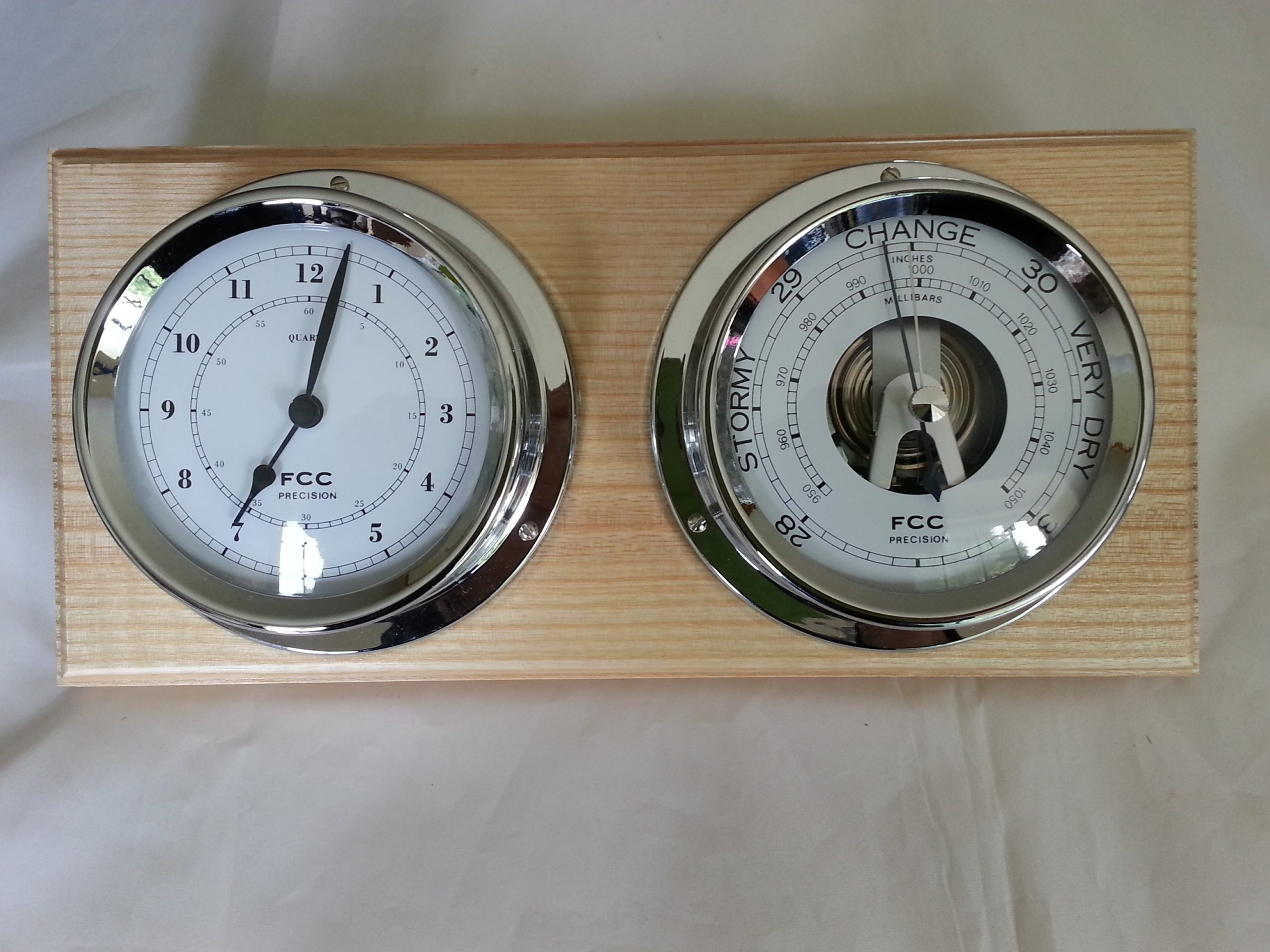 Chrome barometer & clocks set