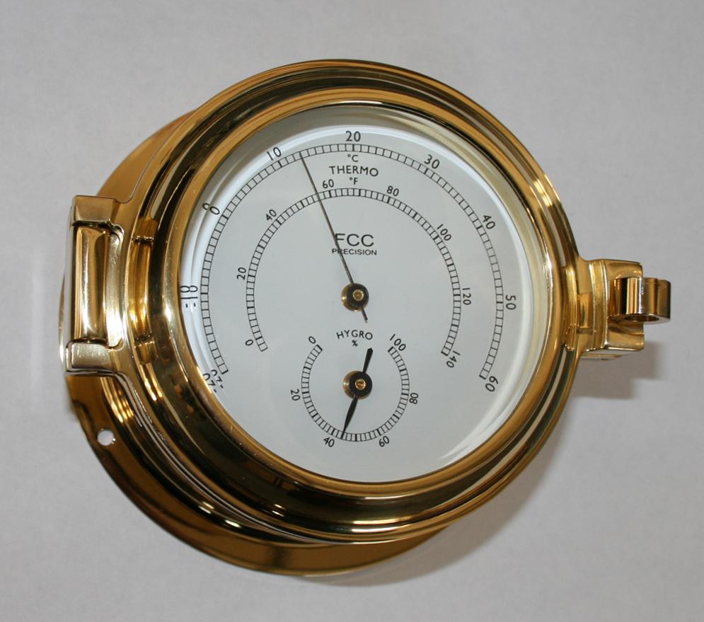 Brass Hygrometer/Thermometer Marine