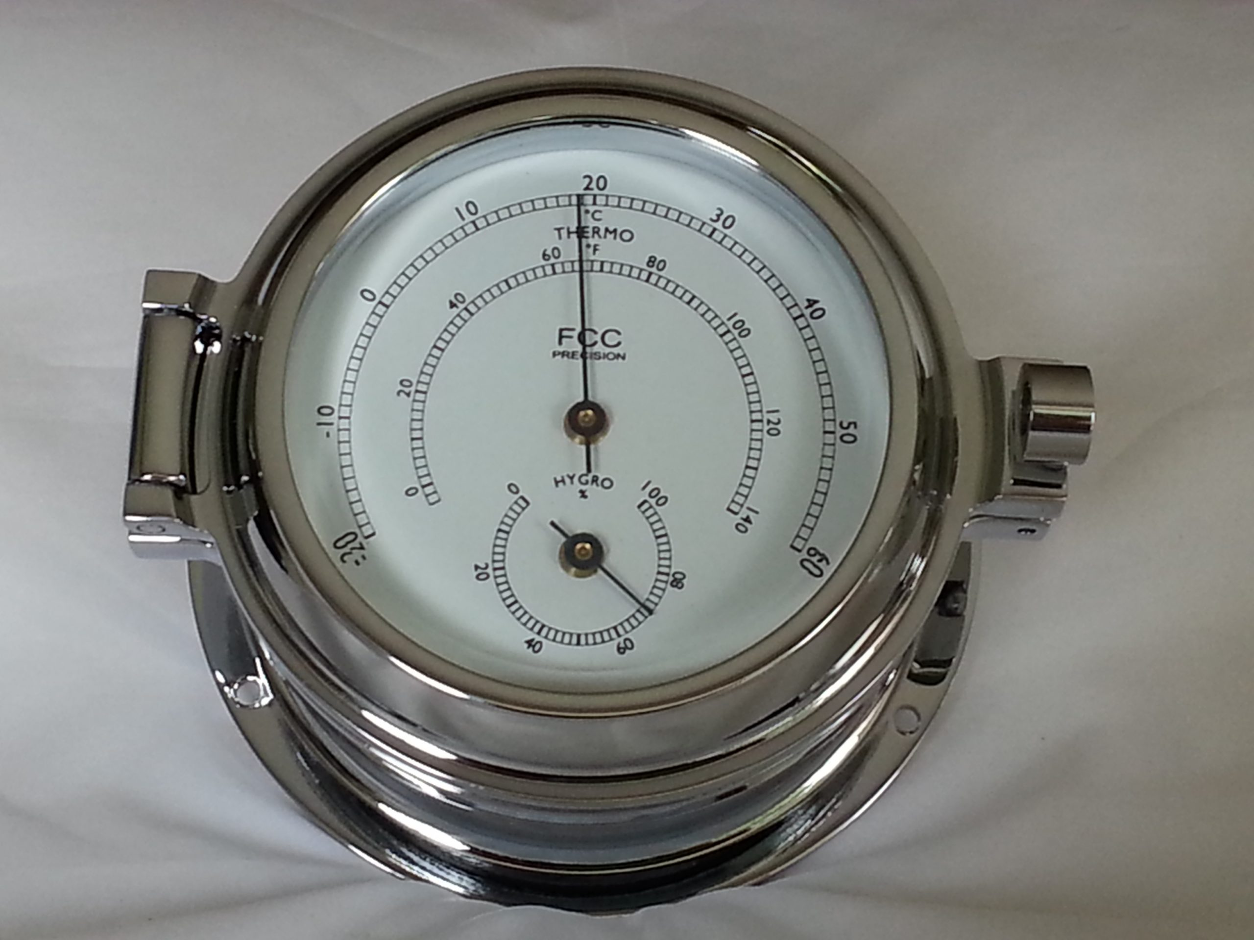 Chrome hygrometer thermometer