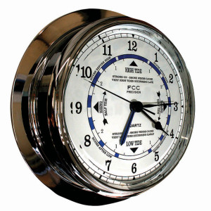 Large chrome time and tide clock