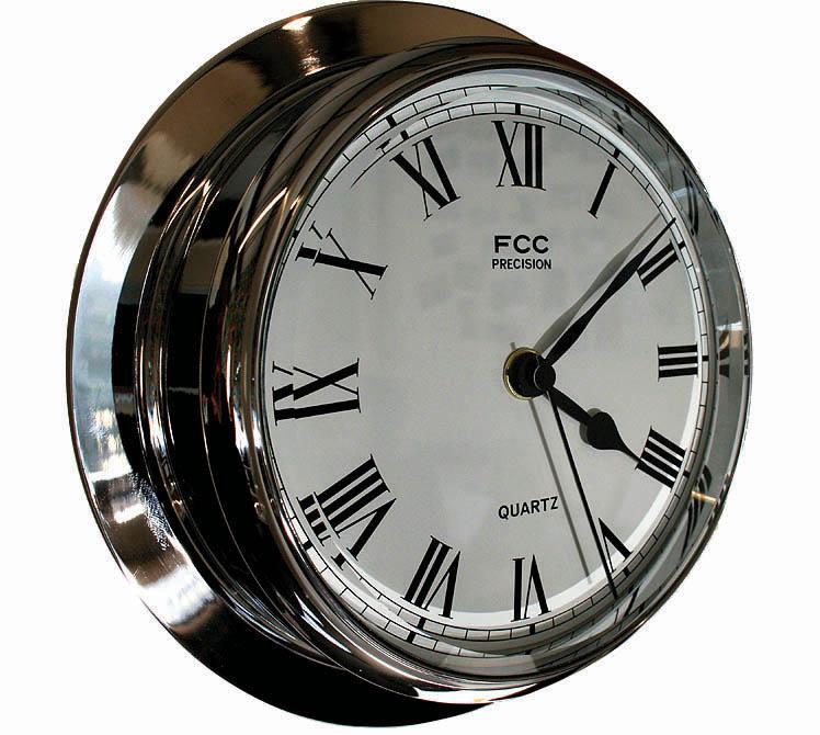 Large chrome clock sailing