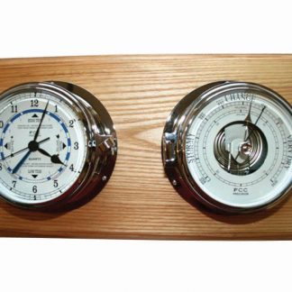 Chrome Time & Tide Clock & Barometer Set