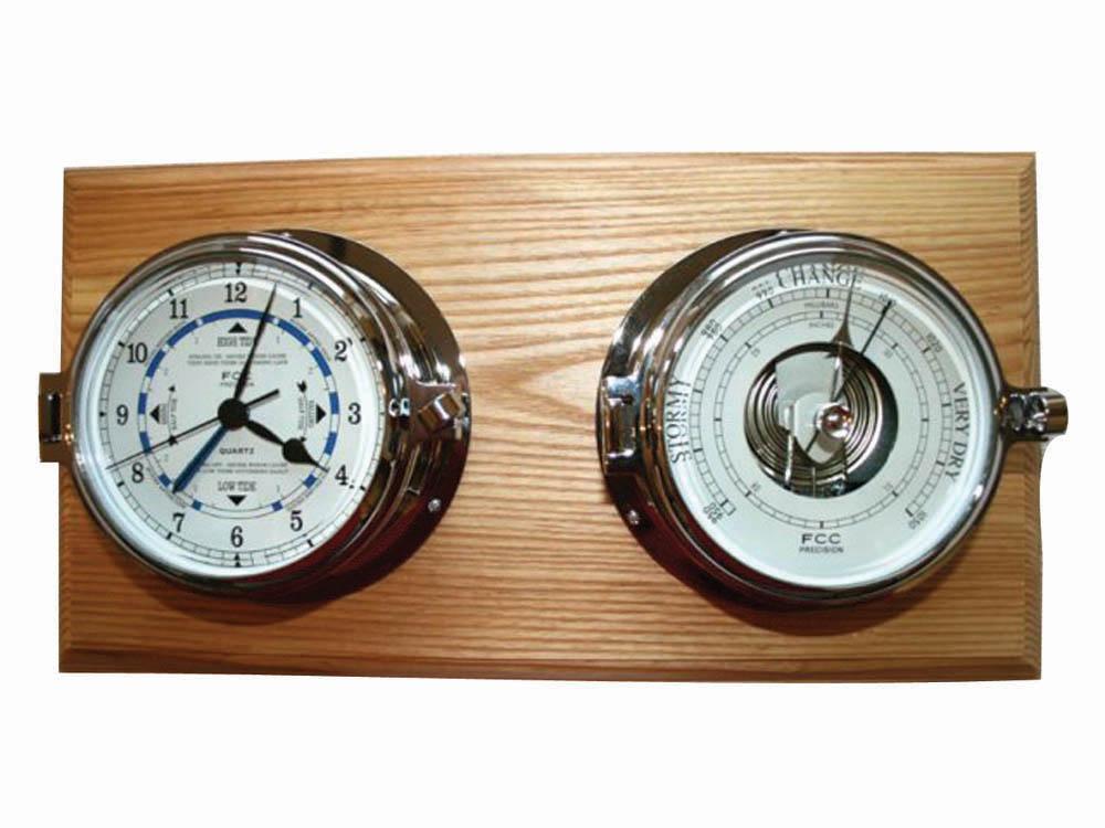 Chrome Time & Tide Clock & Barometer Set