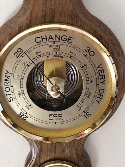 Rustic oak Banjo Barometer