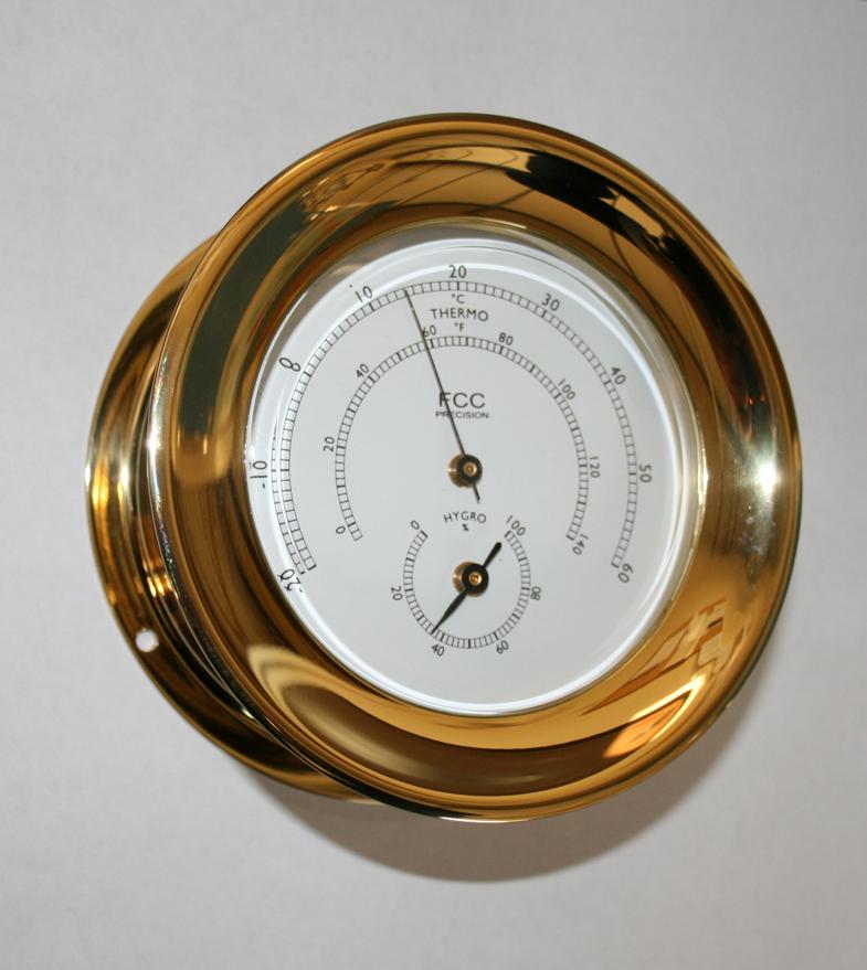 brass hygrometer thermometer