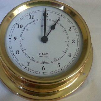 Spun brass bulkhead style clock