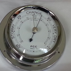 Spun chrome barometer