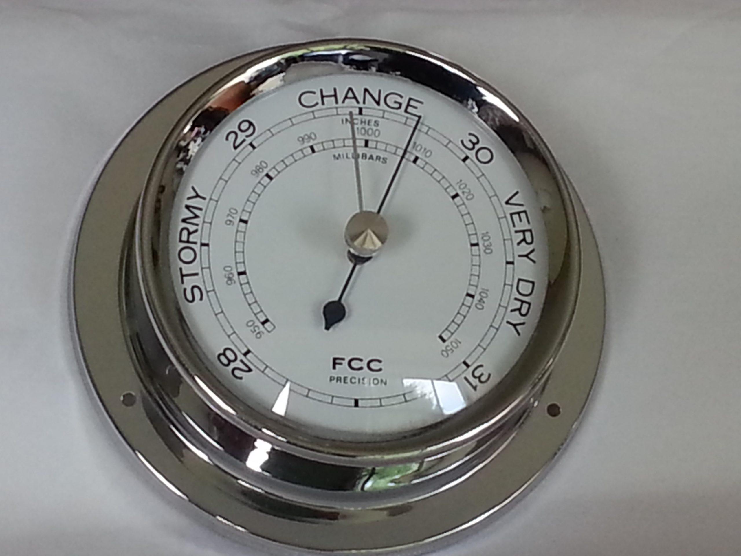 Spun chrome barometer