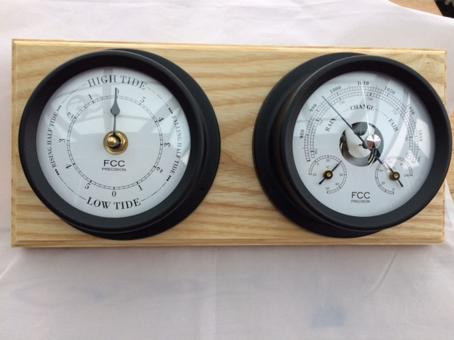 Black Coastal Set combined Barometer Thermometer and Hygrometer in addition to Tidal Clock