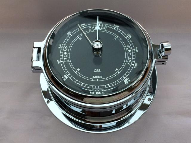 chrome black faced barometer